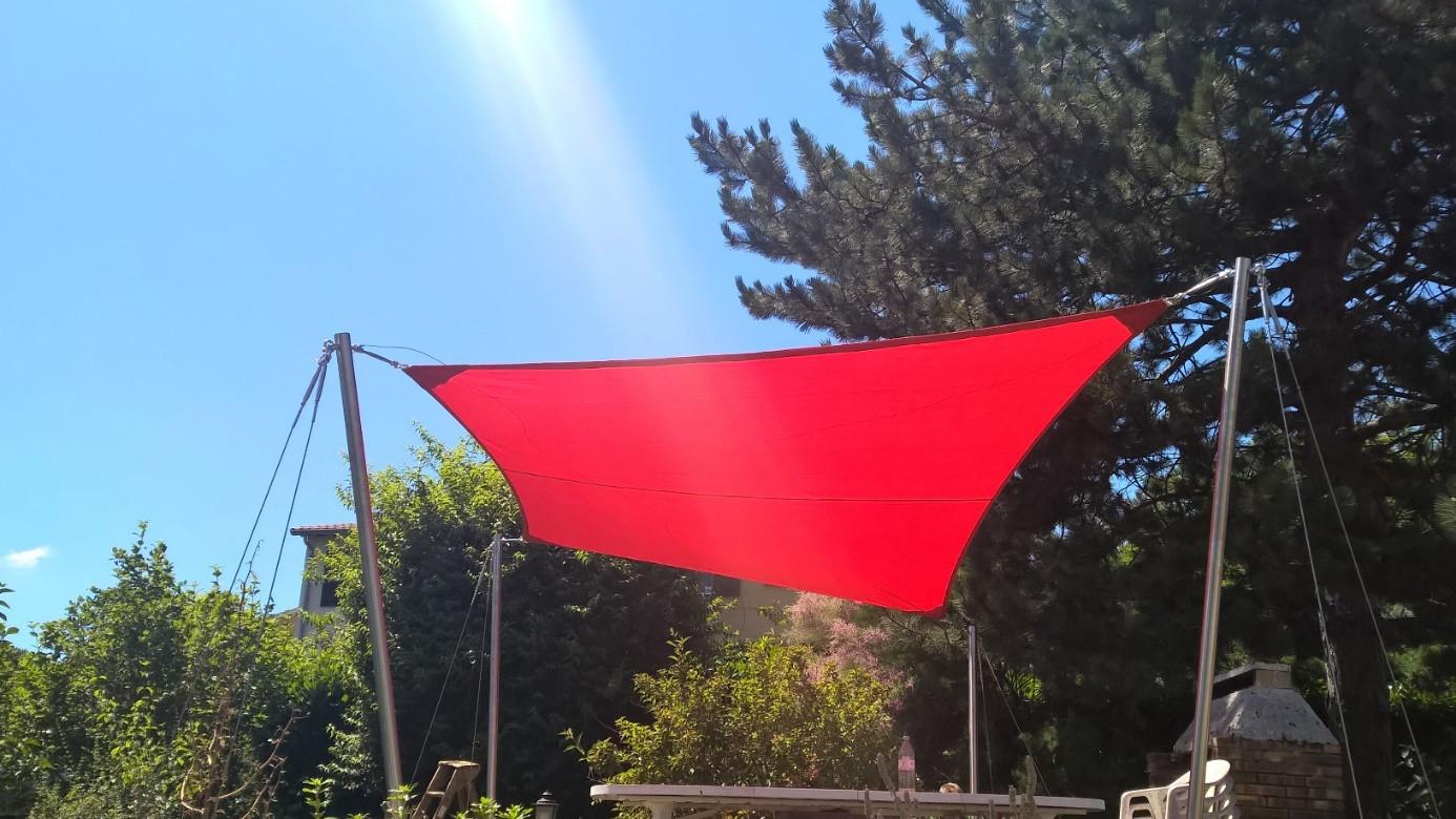 Fabriquer Sa Voile D Ombrage réalisation agrément de jardin voile d'ombrage autoportante